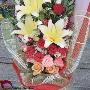 bó hoa chúc mừng, hoa chúc mừng, hoa tươi, bó hoa, hoa hồng, hoa ly
