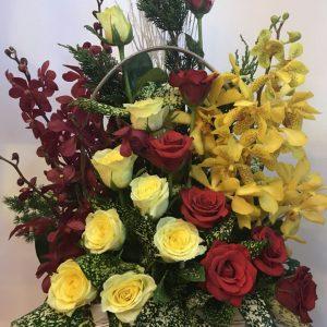 bừng sáng, lẳng hoa, hoa tươi, hoa hồng vàng, hoa hồng đỏ, hoa lan