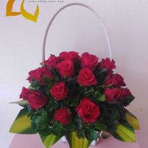 giỏ hồng, hoa hồng, giỏ hoa hồng, giỏ hoa hồng đỏ, hoa hồng đỏ