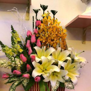 phượng hoàng, hoa tươi, giỏ hoa, hoa hồng, hoa ly, hoa mocara
