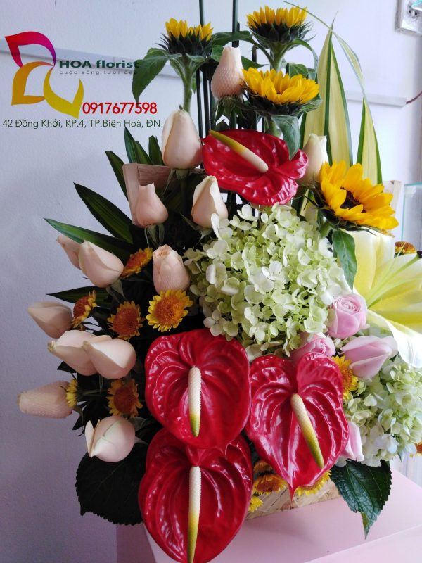 sweetie, hoa tươi, giỏ hoa, hoa hồng, hoa môn đỏ, hoa ly, cẩm tú cầu