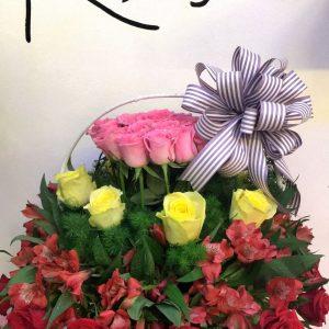 thủy tiên, giỏ hoa, hoa tươi, hoa hồng, hoa thủy tiên