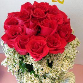 tiểu công chúa, lẳng hoa, lẳng hoa hồng, lẳng hoa hồng đỏ, hoa hồng đỏ