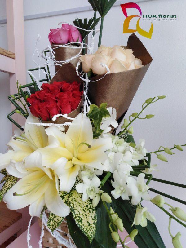 whisper, giỏ hoa, giỏ hoa tươi, hoa đẹp, hoa tươi, hoa hồng, hoa ly