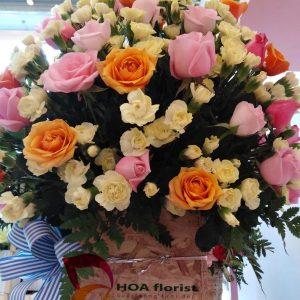 bừng nắng, lẳng hoa, hoa tươi, hoa hồng, hoa hồng cam, hoa cẩm chướng