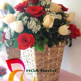 dịu dàng, lẳng hoa, hoa tươi, lẳng hoa hồng, hoa hồng đỏ ,hoa hồng vàng, hoa mi mi