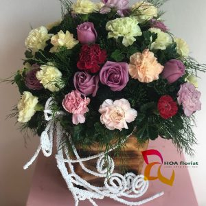 đoàn viên, lẳng hoa, hoa hồng, hoa cẩm chướng, hoa tươi,