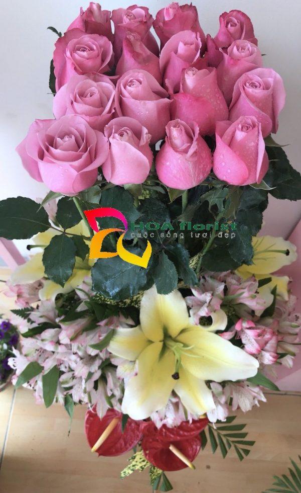 đón nắng, lẳng hoa, hoa tươi, hoa hồng, hoa ly, điện hoa trực tuyến, đặt hoa,