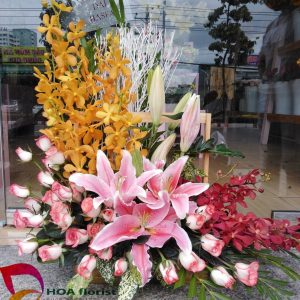 hồng phát, lẳng hoa, hoa tươi, hoa ly, hoa mocara