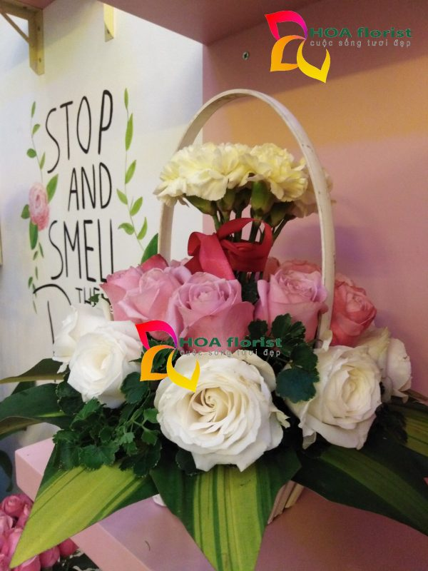 hồng xinh, hoa tươi, hoa hồng, hoa hồng trắng, lẳng hoa, điện hoa trực tuyến, đặt hoa trực tuyến