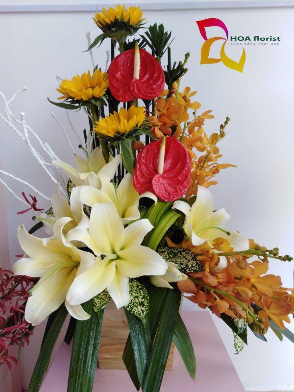 hướng về, lẳng hoa, hoa đẹp, hoa tươi, hoa ly, hoa hồng môn, hoa mocara