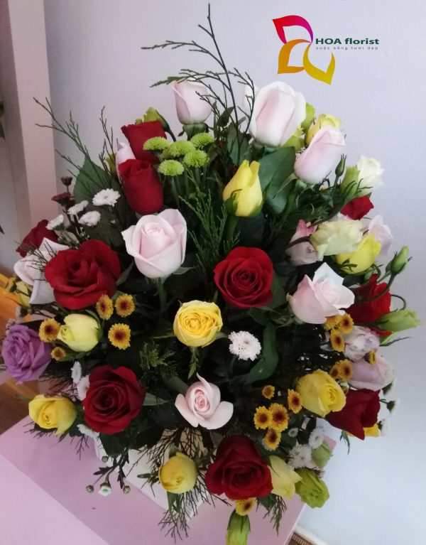 lan tỏa, lẳng hoa, lẳng hoa hồng, hoa hồng, hoa hồng đỏ, hoa cát tường, hoa calimero, hoa tươi