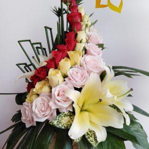 nét đẹp việt nam, lẳng hoa, lẳng hoa hồng, hoa hồng, hoa hồng đỏ, hoa hồng vàng,