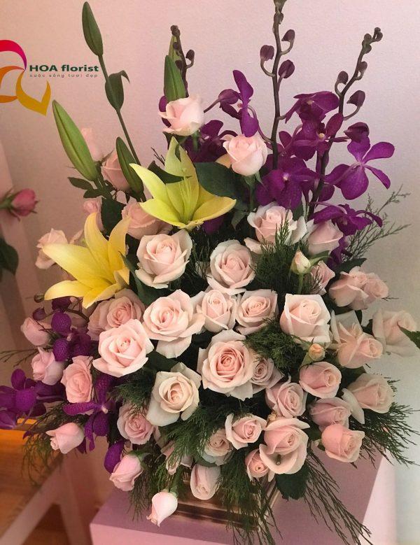 rừng hoa, lẳng hoa, hoa tươi, hoa hòng, hoa ly, hoa lan