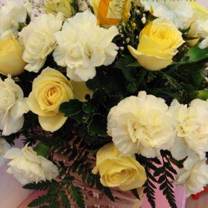 sắc vàng, hoa tươi, hoa hồng, hoa cẩm chướng, lẳng hoa, lẳng hoa hồng