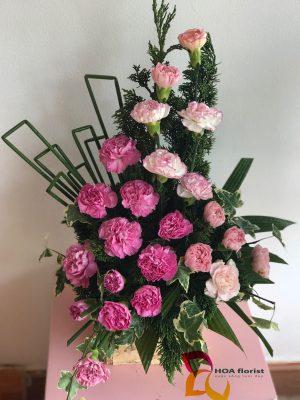 thác nguồn, lẳng hoa, hoa tươi, hoa cẩm chướng, hoa cẩm chướng hồng,