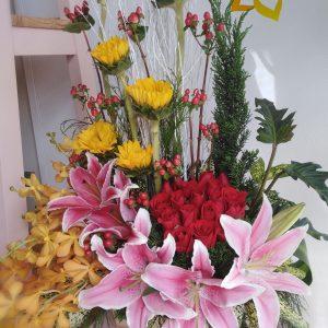 thiên hương, lẳng hoa, hoa tươi, lẳng hoa thiên hương, hoa hồng, hoa hướng dương, hoa ly